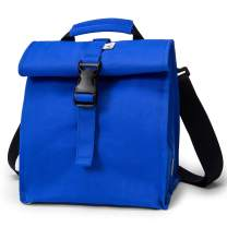 Sunny Bird Insulated Lunch Bag Rolltop Lunch Box Small Lunch Cooler for Women, Men, Adults and Kids (Blue)