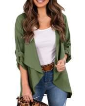 Eurivicy Women's Draped Open Front Lightweight Jacket Blazers Roll 3/4 Sleeve Relax Fit Casual Office Blazer