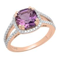 Dazzlingrock Collection 14K 8 MM Cushion Gemstone & Round Diamond Ladies Halo Engagement Ring, Rose Gold