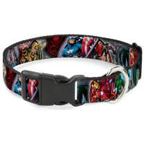 Buckle-Down Dog Collar Plastic Clip Marvel Avengers Superhero Villain Poses Available In Adjustable Sizes For Small Medium Large Dogs