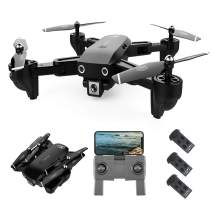 GoolRC CSJ S166 GPS RC Drone with 720P HD Camera Follow Me Auto Return WiFi FPV Live Video Gesture Photos RC Quadcopter for Adults with 3 Battery