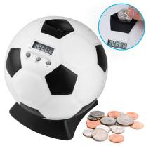 Lefree Coin Bank,Soccer Shape Piggy Bank with Automatic LCD Display,Perfect Kid's Money Counting Soccer Ball Coin Bank for Kids, Friends,Adults