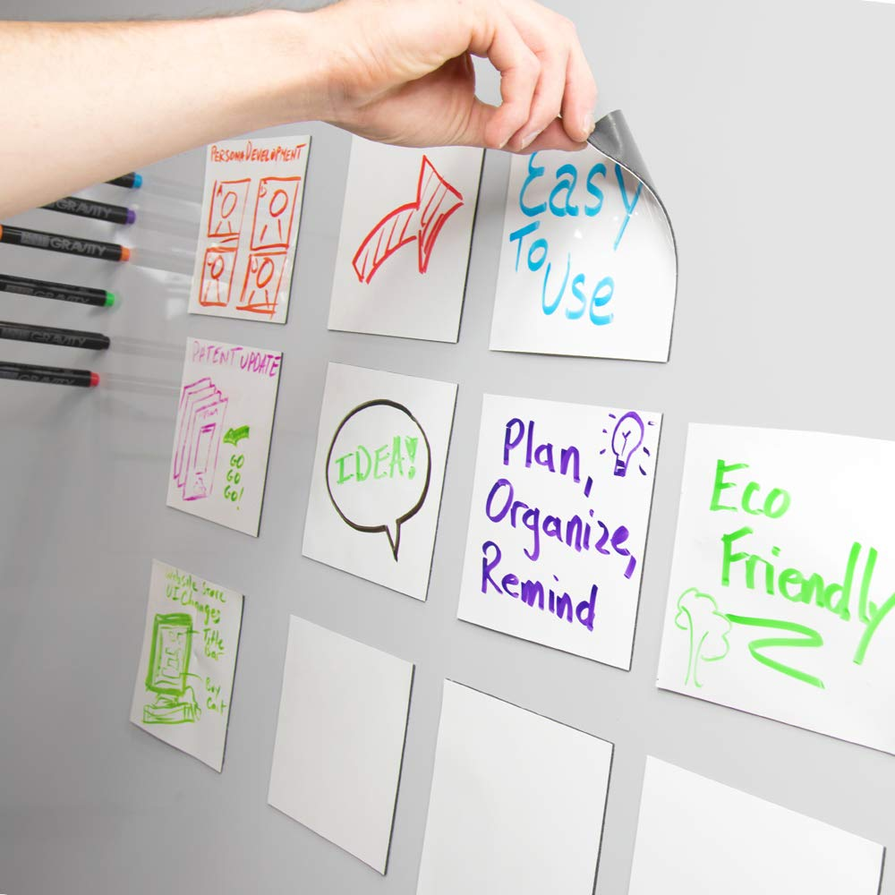 mcSquares Stickies Dry-Erase Sticky Notes - Reusable Whiteboard Stickers - 5 inch Square 6 Pack - Great for Reminders, Labels, Lists, and Decals - Never Buy Paper Post Notes Again, Its Eco-Friendly!