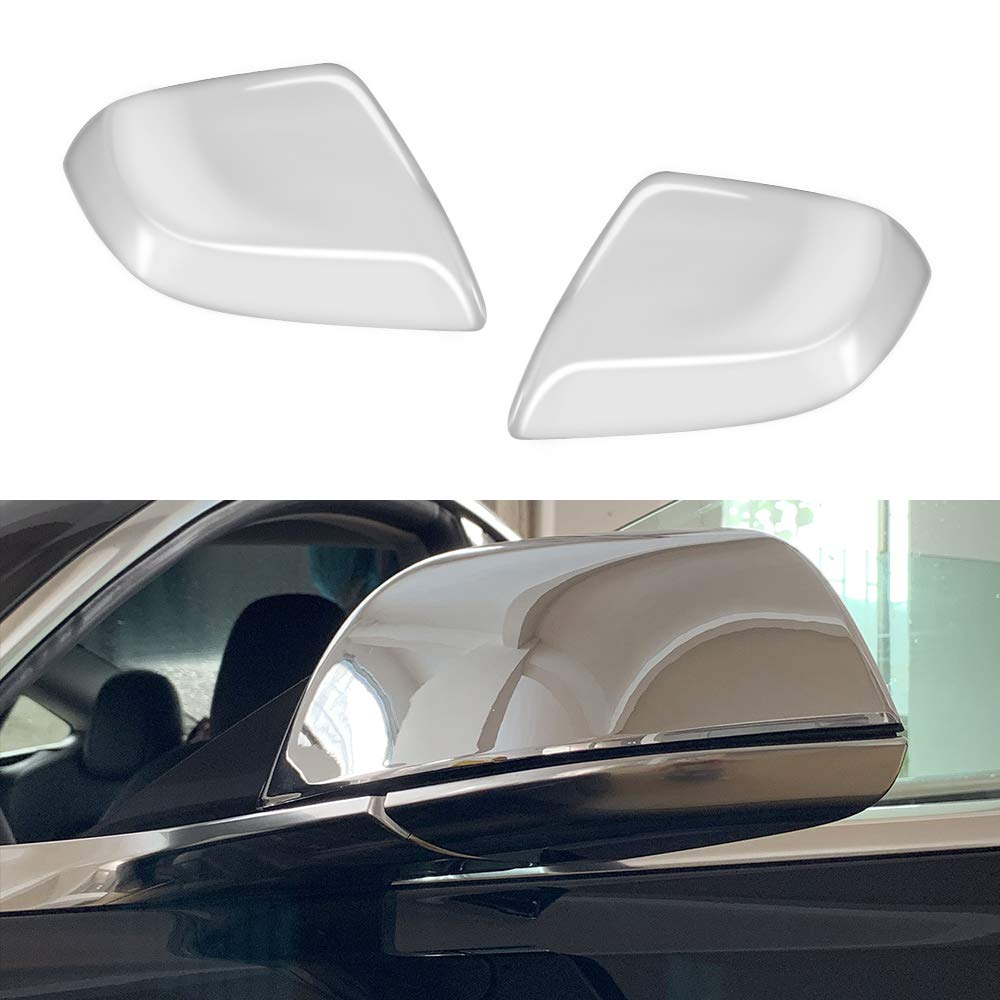 ROCCS Tesla Model 3 Side Mirror Cover, ABS Plastic Silver Cover Outside Mirrors Cap Replacement, Pack of two