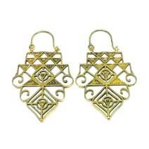 Handmade Unique Boho Ethnic Bold Geometric Tribal Dangle Drop Earrings for Women, Gold Tone
