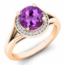 Dazzlingrock Collection 14K 7 MM Gemstone & White Diamond Halo Style Bridal Engagement Ring, Rose Gold