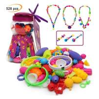 Happytime Snap Pop Beads Girls Toy 528 Pieces DIY Jewelry Kit Fashion Fun for Necklace Ring Bracelet Art Crafts Gifts Toys for 3, 4, 5, 6, 7 ,8 Year Old Kids Girls
