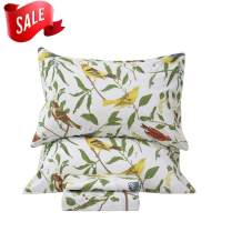 SexyTown 4 Piece Leaves and Bird Printed Bed Sheets Set 1 Flat Sheet 1 Fitted Sheet and 2 Pillow Cases 100% Egyptian Cotton Extremely Durable Cal