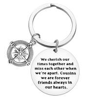 Cousin keyring Gifts Long Distance Cousin Keychain Best Friend Jewelry Gifts We Cherish Out Times Together and Miss Each Other When We're Apart Cousins birthday Graduation Christmas School season Gift