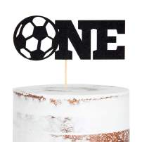 WAOUH Soccer ONE Cake Topper - Golden Glitter Cake Topper for Birthday Party, Cake Decoration for Personalized, Photo Booth Props, Soccer Sign Cake Flag(Black)