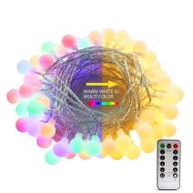 AMARS Color Changing Indoor String Lights,26ft 70 LED 8 Function Warm White Multi Color Globe String Lights,Dimmable Battery Operated Fairy Light with Timer&Remote for Christmas Tree,Party,Bedroom