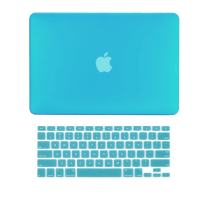 "TOP CASE - 2 in 1 Signature Bundle Rubberized Hard Case Compatible MacBook Pro 13.3""(13"" Diagonally) with Retina Display (Old Gen. 2012-2015) Model: A1425 & A1502 and Keyboard Cover - Aqua Blue"