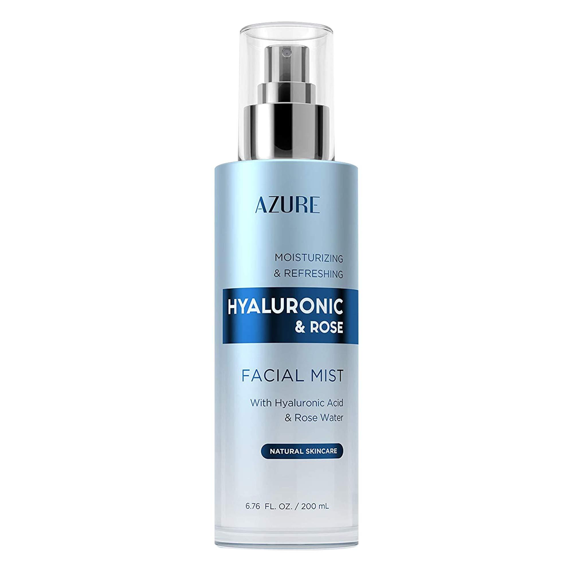 AZURE Hyaluronic & Rose Moisturizing Face Mist Toner   Rejuvenating & Firming   W/Collagen, Aloe & Gold   Refreshes & Moisturizes Skin   Made in Korea - 200mL
