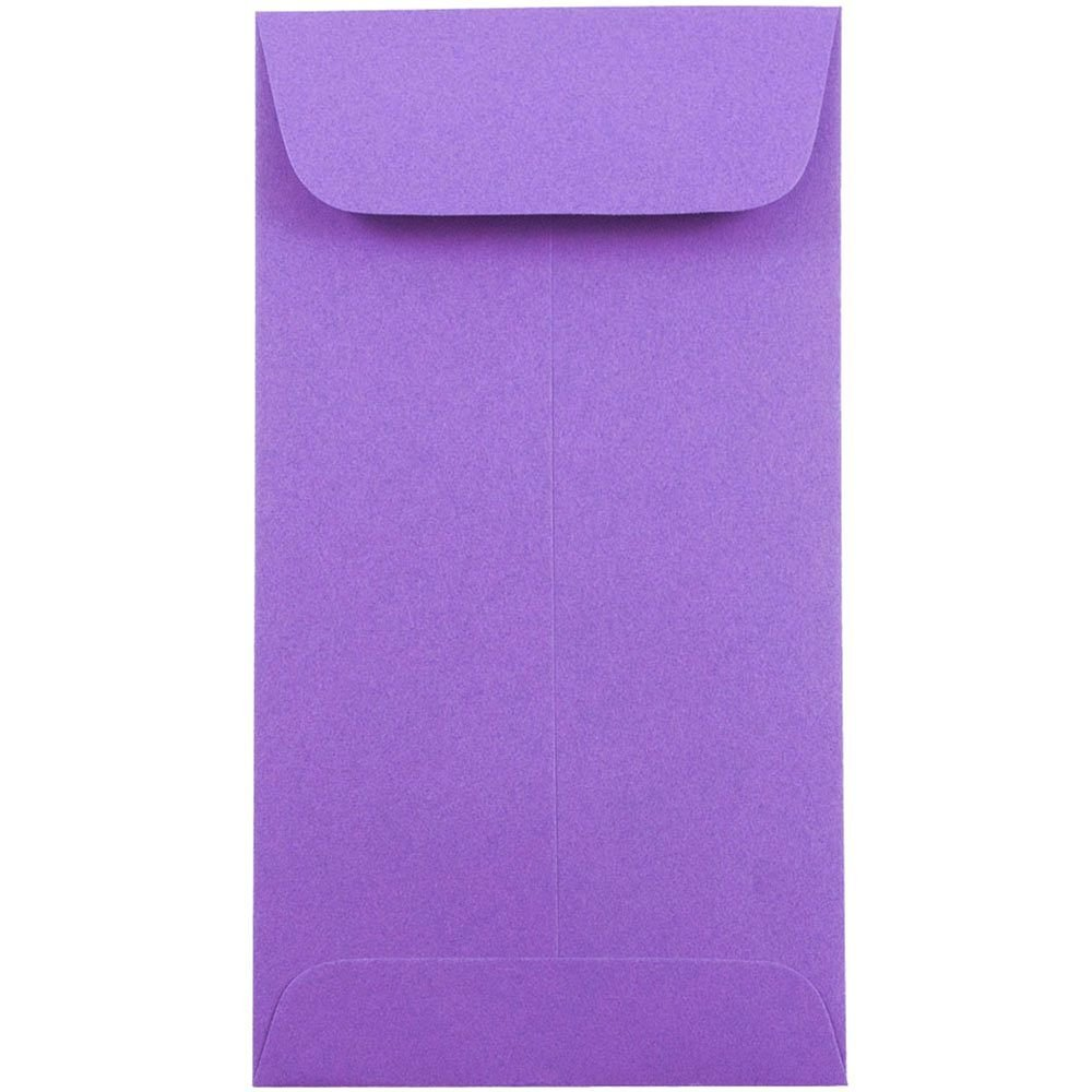 JAM PAPER #7 Coin Business Colored Envelopes - 3 1/2 x 6 1/2 - Violet Purple Recycled - 50/Pack