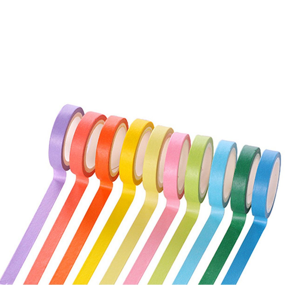 WIN-MARKET 20pcs Rainbow Washi Sticky Paper Masking Adhesive Decorative Tape Scrapbooking DIY
