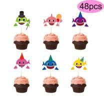 48pcs Cute Shark Cake Toppers For Kids Birthday Party Decorations Cupcake Supplies