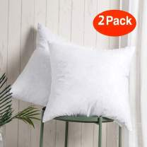 WhatsBedding 2PC Throw Pillow Inserts - Sham Stuffer Down and Feather Filling for Firm Sleepers - Square Decorative Couch Pillows Sofa Pillows Bed Pillows, Pure White, 18x18 Throw Pillows 100% Cotton