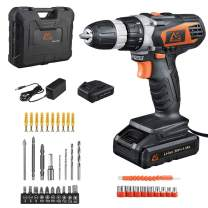 MAIBERG 20V MAX Lithium Ion Cordless Drill, Power Drill Set with 2 Batteries, Hard Case, 3/8 inches Keyless Chuck, Variable Speed, Built-in LED, 18 Position and 38pcs Drill/Driver Bits