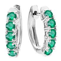 Dazzlingrock Collection 10K Gemstone & Round Ladies Huggies Hoop Earrings, White Gold