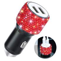 Dual USB Car Charger,SAVORI Car Adapter Bling Bling Rhinestones Crystal Car Decorations for Fast Charging Car Decors for iPhone Xs Max X Plus, iPad Pro/Mini, Samsung