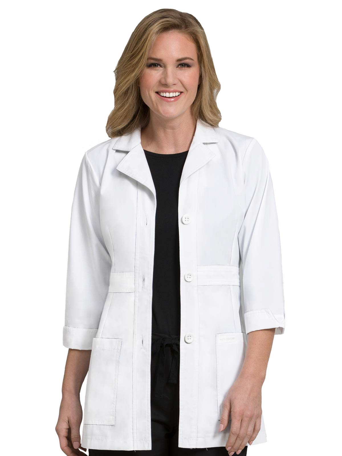 """Med Couture Women's Peaches 31"""" Lab Coat with Two Patch Pockets"""