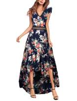 Elegant Backless Floral Maxi Dress High Low Sexy Cocktail Party Dress