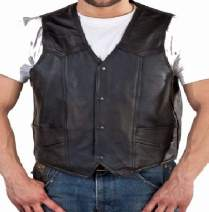 REED Men's Soft Durable Leather Vest Black, 2 Inside Pockets
