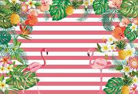 Laeacco Pink Flamingos Photo Background 7x5ft Photography Backdrops Watercolor Flowers and Leaves Pattern Pink and White Stripes Backdrop Kid Adults Baby Pohoto Portrails Artistic Studio Props