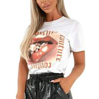 MAKARTHY Women's Lips T-Shirts Cotton Short Sleeve Graphic Tees