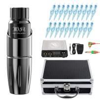 Dragonhawk Mast Tour Tattoo Pen Machine Kit with Case, 20Pcs Cartridges Needles Power Supply Custom Mast Coreless Motor Rca Cord