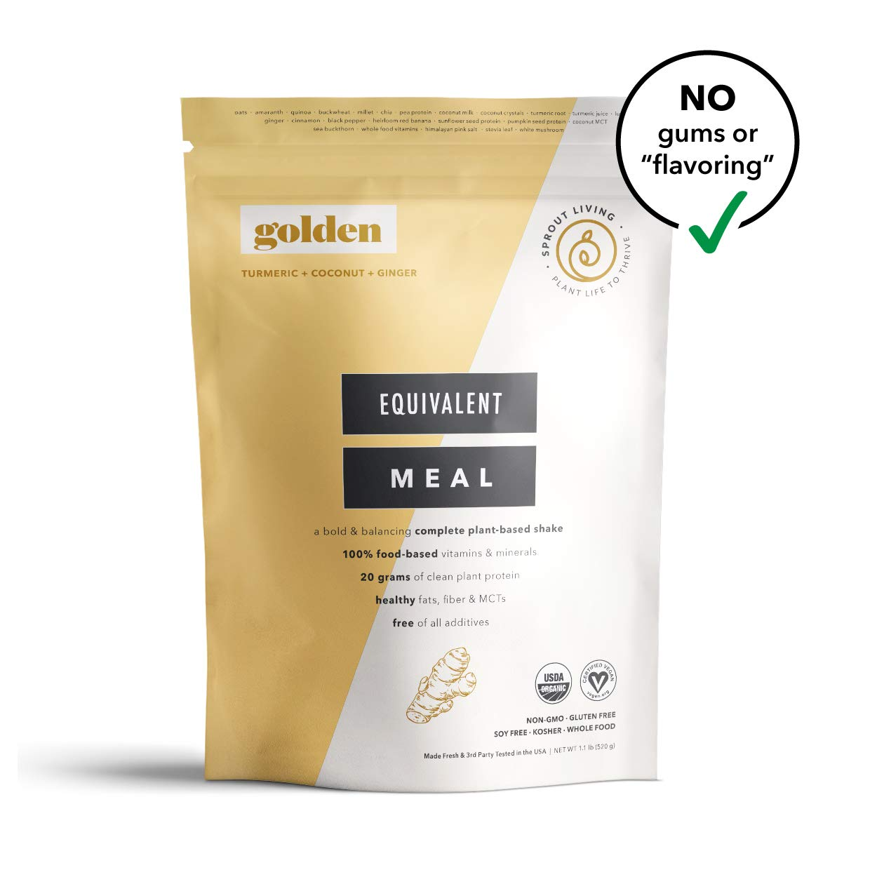 Sprout Living Equivalent Meal, Golden (Turmeric) Flavor, Plant-Based Organic Meal Replacement, 20 Grams Plant Protein, No Additives, Gluten Free (520 Grams, 8 Servings)