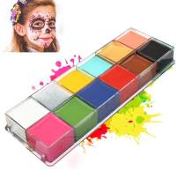 Snefe Face Paint, 12 Colors Professional Body Paint Oil Safe Face Painting for Kids Makeup Art Cosplay World Cup Party Christmas