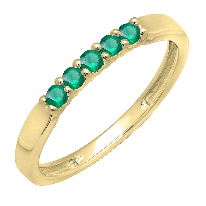 Dazzlingrock Collection 18K Round Gemstone 5 Stone Ladies Anniversary Wedding Band Ring, Yellow Gold