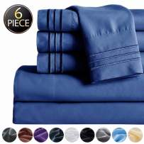 """SAKIAO -6PC California King Bed Sheets Set - Brushed Microfiber 1800 Thread Count Percale - 16"""" Deep Pocket Wrinkle Free & Fade Resistant - Egyptian Sheet Set (Navy Blue,California King)"""