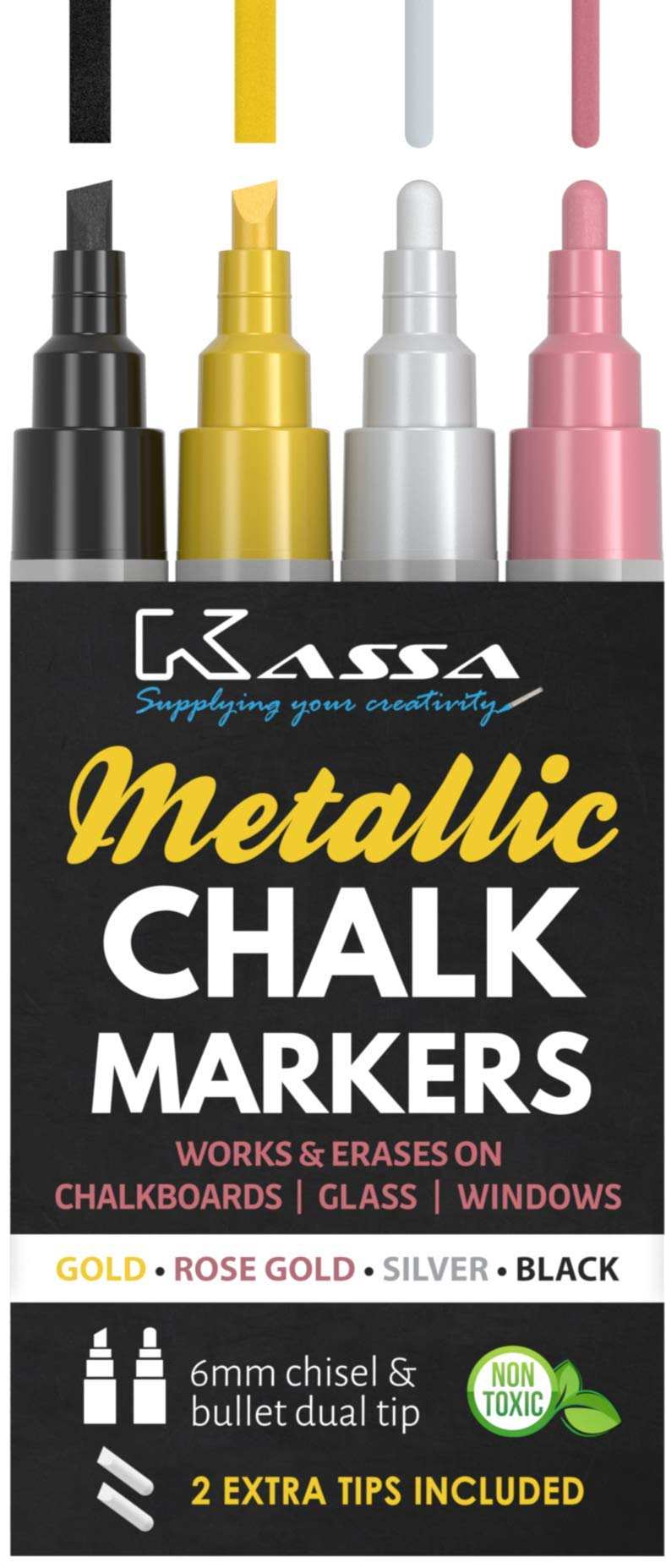Kassa Metallic Liquid Chalk Markers for Blackboards (Gold, Rose Gold, Silver & Black) - 4 Colored Pack - Chalkboard Pens Erase on Window, Blackboard, Mirror & Glass - Dual Tip Chalk Board Marker