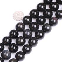 "JOE FOREMAN Black Obsidian Beads for Jewelry Making Natural Gemstone Semi Precious 16mm Round 15"""