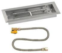 """American Fireglass 18"""" X 6"""" Rectangular Drop-in Pan with Match Light Kit - Natural Gas"""