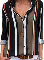 ZKESS Women Casual Striped V Neck Collared Roll Up Long Sleeve Button Down Tee Shirts Tops S-XXL