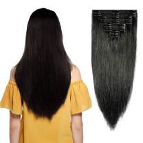 """Double Weft 100% Remy Human Hair Clip in Extensions 10''-22'' Grade 7A Quality Full Head Thick Thickened Long Soft Silky Straight 8pcs 18clips for Women Beauty (14"""" / 14 inch 120g,#1 Jet Black)"""