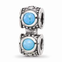925 Sterling Silver Charm For Bracelet Blue Turquoise Connector Bead Stone Crystal Fine Jewelry For Women Gifts For Her