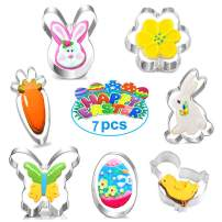 Easter Cookie Cutter Set-Rabbit, Chick, Egg, Flower, Carrot, Butterfly Stainless Steel Cookie cutters shapes Party Supplies -7 Pcs
