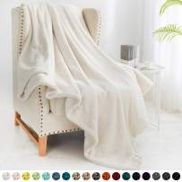 """Walensee Sherpa Fleece Blanket (Throw Size 50""""x60"""" Off White) Plush Throw Fuzzy Super Soft Reversible Microfiber Flannel Blankets for Couch, Bed, Sofa Ultra Luxurious Warm and Cozy for All Seasons"""