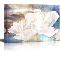 Abstract Canvas Art - White Flower Petal on Splatter Color Background - Giclee Print Modern Wall Decor | Stretched Gallery Wrap Ready to Hang Home Decoration - 32x48 inches