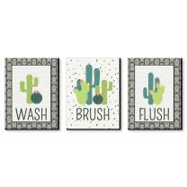 Big Dot of Happiness Prickly Cactus - Kids Bathroom Rules Wall Art - 7.5 x 10 inches - Set of 3 Signs - Wash, Brush, Flush