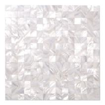 Diflart White Seamless Mother of Pearl Square Tiles Pearl Shell Mosaic Backsplash Pack of 10
