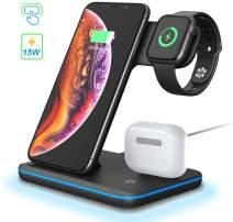 3 in 1 Wireless Charging Station, POWERGIANT 15W Qi Fast Fast Wireless Charger Station Compatible with Airpods Pro 2 1 iWatch 5 4 3 2 1 iPhone 11 Xs Max Xr X 8 Plus Samsung S10 S9 S8, Color Black