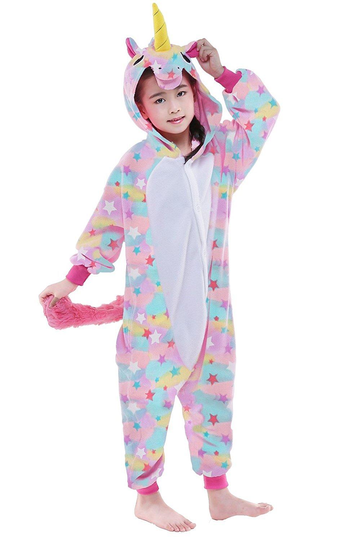 CANASOUR Polyster Kids Unisex Unicorn Cosplay Pajamas Costome (125#, Rainbow)