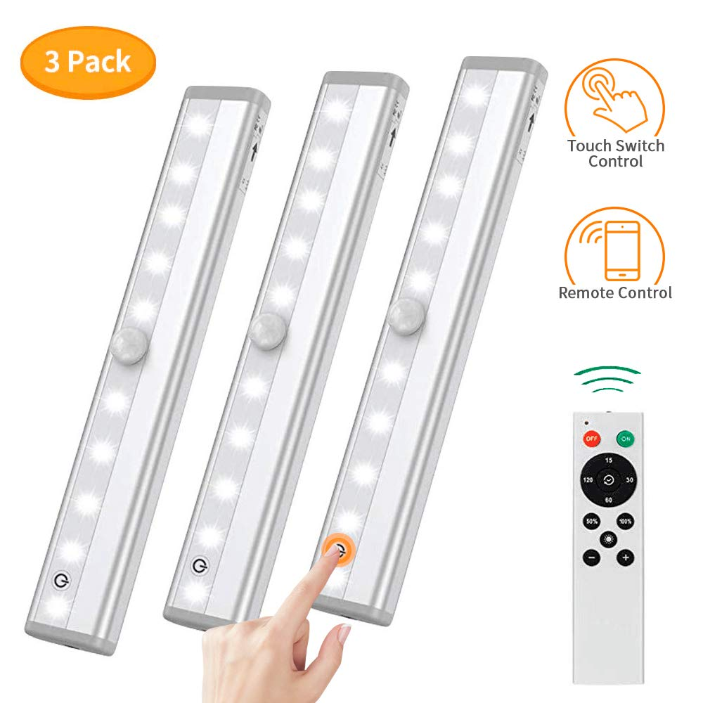Remote Control Dimmable Cabinet Light, 10 LED Touch Control Kitchen Counter Light, Battery Operated Wireless Stick-on Closet Light, Corridor Sensor Night Light, KULED RT3P, Silver3 Pack