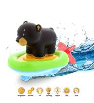 Dollibu Boat Racer Buddy, Fun Educational Bath Toy Finger Puppet Pull and Go Water Racing Woodland Pal for Shower Pool Bathtub Swim Hard Surfaces for Baby Toddler and Boy - 6 Inch - 3 in 1 Game - Bear