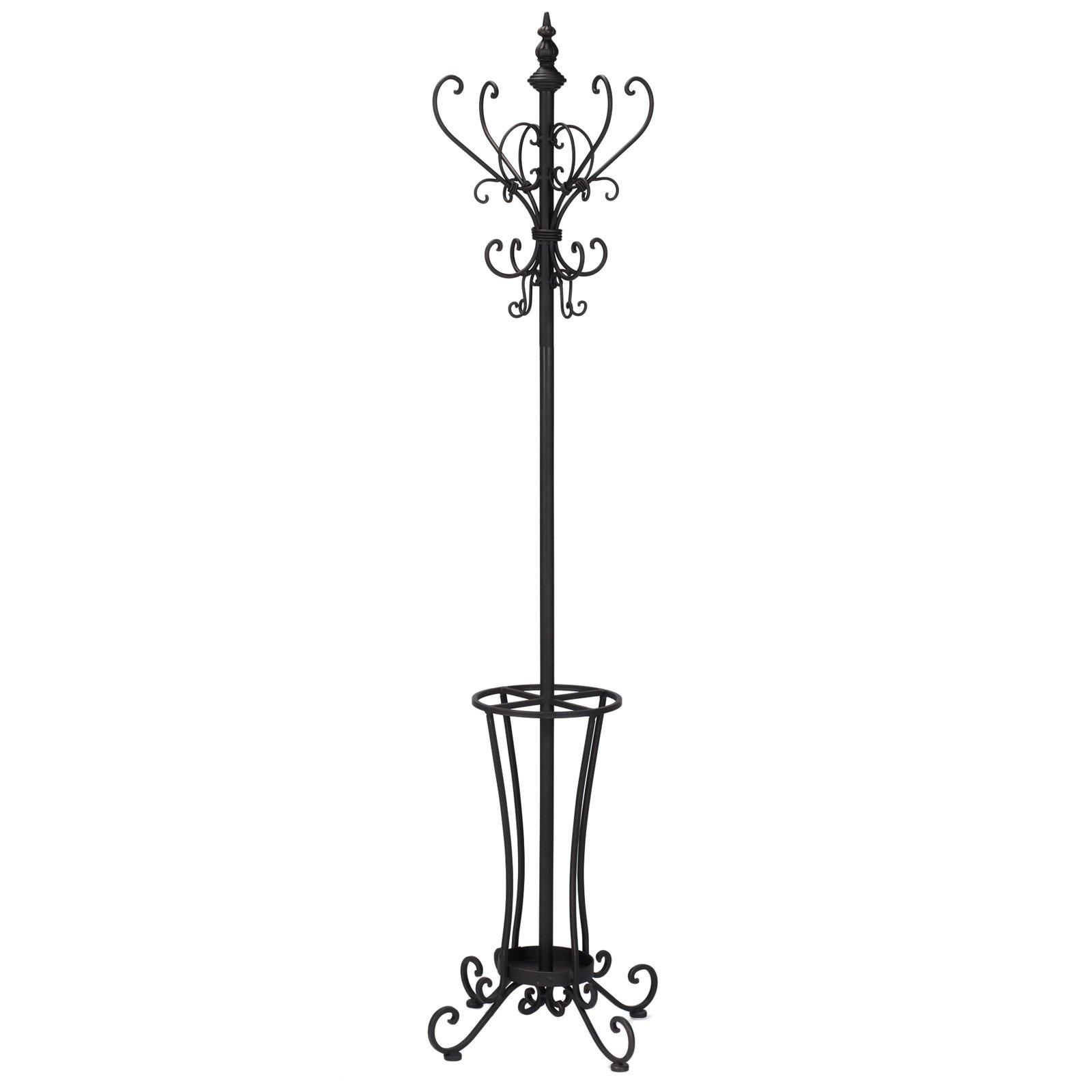 Rustic Metal Scroll Hall Tree - Decorative Hooks & Umbrella Rack - Wrought Iron Frame